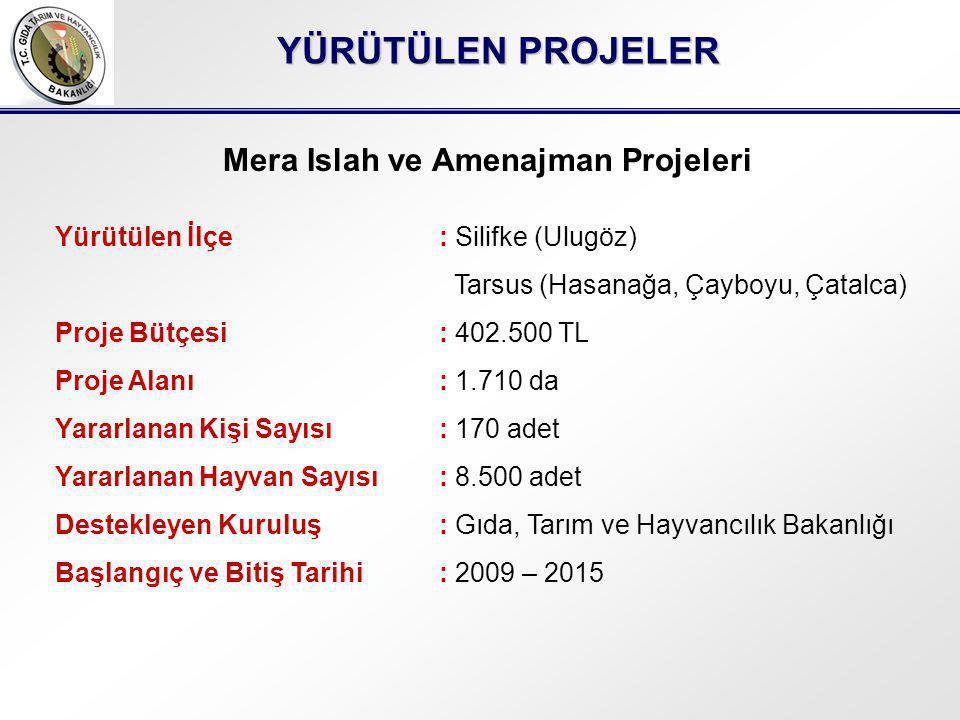 YÜRÜTÜLEN PROJELER Mera Islah ve Amenajman Projeleri Yürütülen İlçe: Silifke (Ulugöz) Tarsus (Hasanağa, Çayboyu, Çatalca) Proje Bütçesi: 402.500 TL Proje Alanı: 1.710 da Yararlanan Kişi Sayısı: 170 adet Yararlanan Hayvan Sayısı: 8.500 adet Destekleyen Kuruluş: Gıda, Tarım ve Hayvancılık Bakanlığı Başlangıç ve Bitiş Tarihi: 2009 – 2015