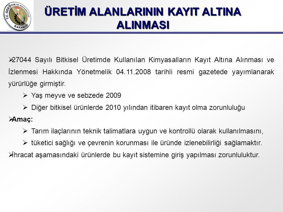 ÜRETİM ALANLARININ KAYIT ALTINA ALINMASI  27044 Sayılı Bitkisel Üretimde Kullanılan Kimyasalların Kayıt Altına Alınması ve İzlenmesi Hakkında Yönetmelik 04.11.2008 tarihli resmi gazetede yayımlanarak yürürlüğe girmiştir.