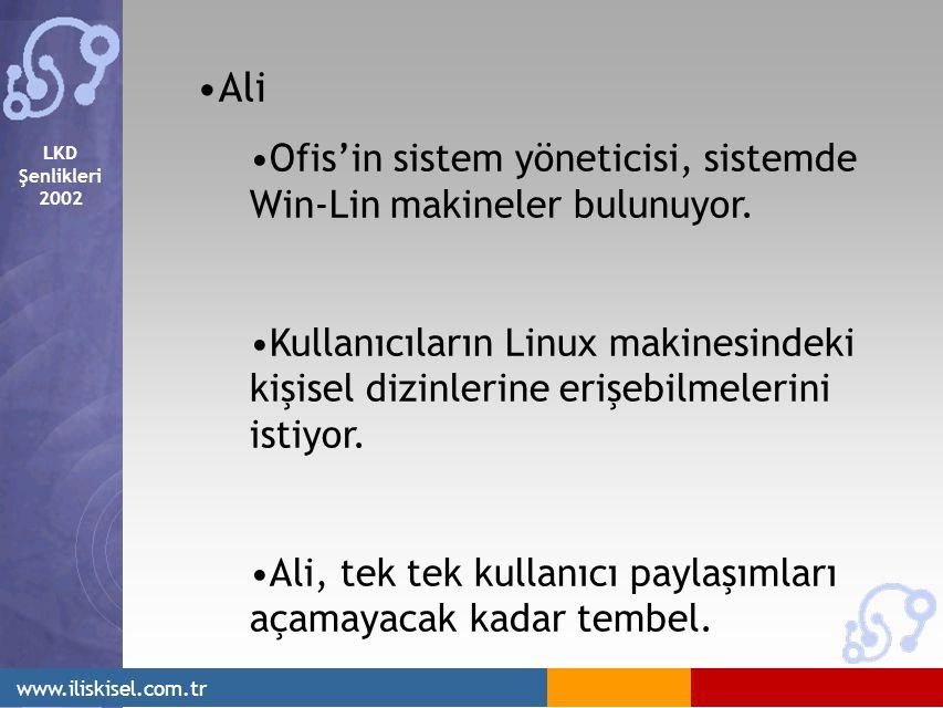 LKD Şenlikleri 2002 www.iliskisel.com.tr Ali Ofis'in sistem yöneticisi, sistemde Win-Lin makineler bulunuyor. Kullanıcıların Linux makinesindeki kişis
