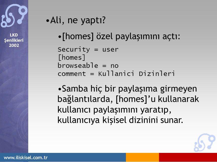LKD Şenlikleri 2002 www.iliskisel.com.tr Ali, ne yaptı? [homes] özel paylaşımını açtı: Security = user [homes] browseable = no comment = Kullanici Diz