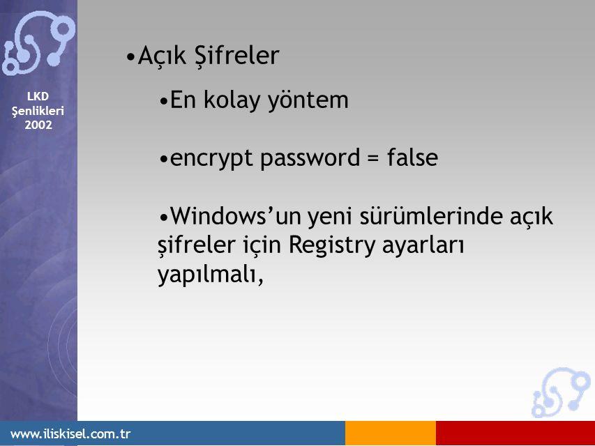 LKD Şenlikleri 2002 www.iliskisel.com.tr Açık Şifreler En kolay yöntem encrypt password = false Windows'un yeni sürümlerinde açık şifreler için Registry ayarları yapılmalı,