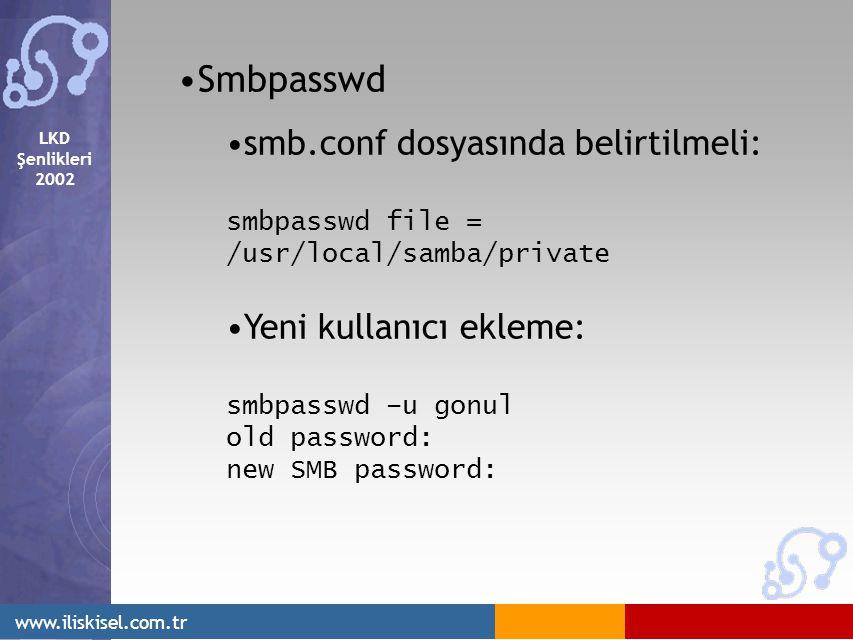 LKD Şenlikleri 2002 www.iliskisel.com.tr Smbpasswd smb.conf dosyasında belirtilmeli: smbpasswd file = /usr/local/samba/private Yeni kullanıcı ekleme: smbpasswd –u gonul old password: new SMB password: