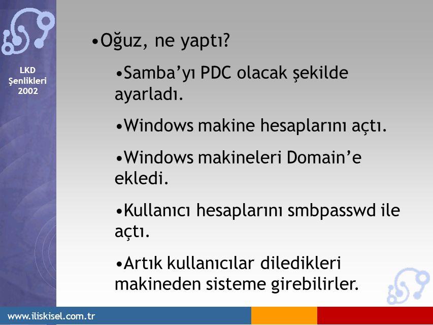 LKD Şenlikleri 2002 www.iliskisel.com.tr Oğuz, ne yaptı? Samba'yı PDC olacak şekilde ayarladı. Windows makine hesaplarını açtı. Windows makineleri Dom