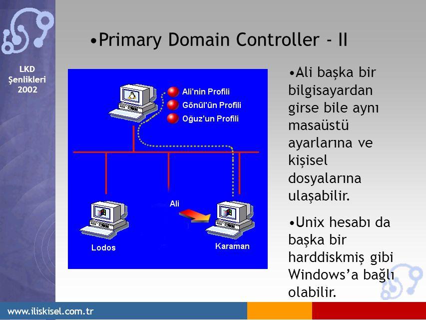LKD Şenlikleri 2002 www.iliskisel.com.tr Primary Domain Controller - II Ali başka bir bilgisayardan girse bile aynı masaüstü ayarlarına ve kişisel dosyalarına ulaşabilir.