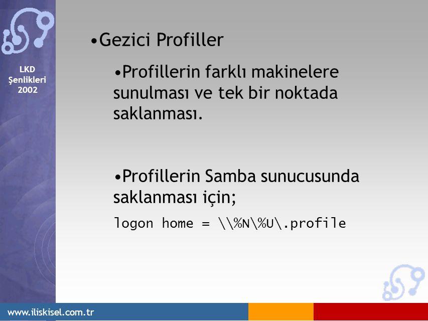 LKD Şenlikleri 2002 www.iliskisel.com.tr Gezici Profiller Profillerin farklı makinelere sunulması ve tek bir noktada saklanması.