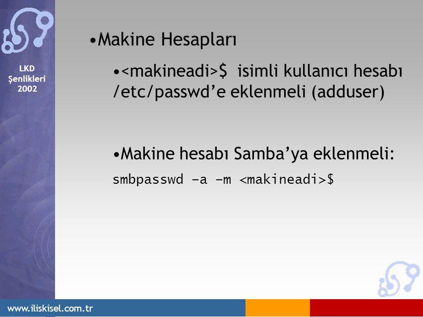 LKD Şenlikleri 2002 www.iliskisel.com.tr Makine Hesapları $ isimli kullanıcı hesabı /etc/passwd'e eklenmeli (adduser) Makine hesabı Samba'ya eklenmeli: smbpasswd –a –m $
