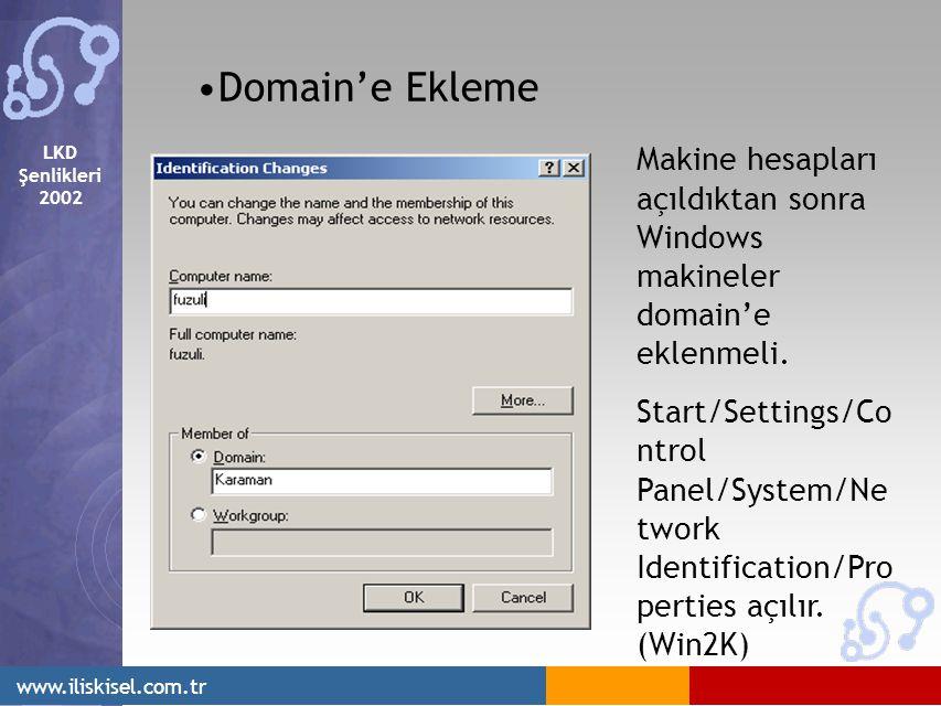 LKD Şenlikleri 2002 www.iliskisel.com.tr Domain'e Ekleme Makine hesapları açıldıktan sonra Windows makineler domain'e eklenmeli.