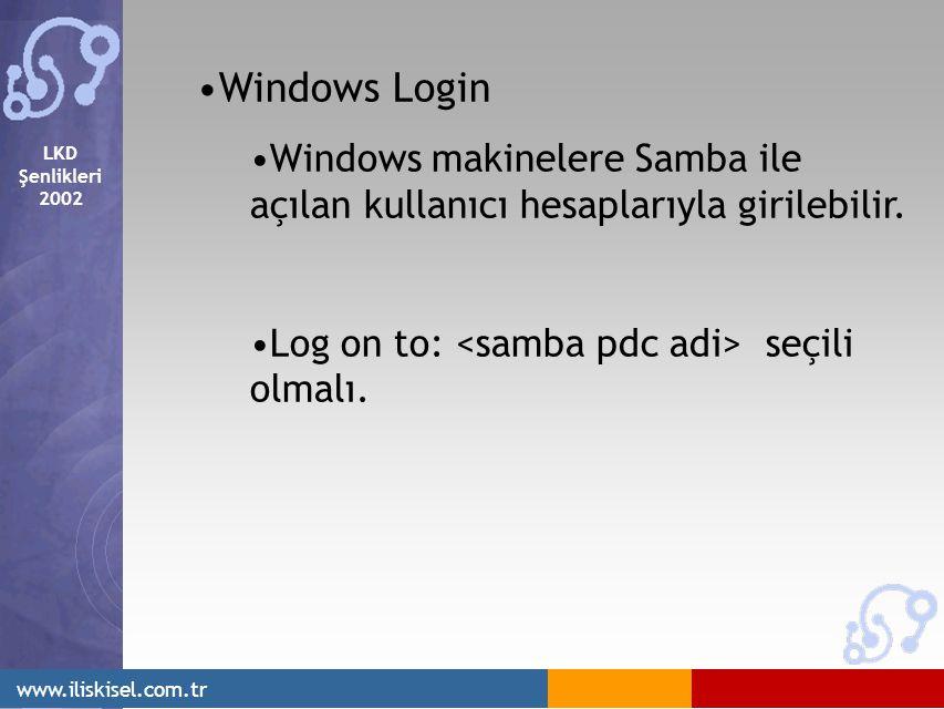 LKD Şenlikleri 2002 www.iliskisel.com.tr Windows Login Windows makinelere Samba ile açılan kullanıcı hesaplarıyla girilebilir.