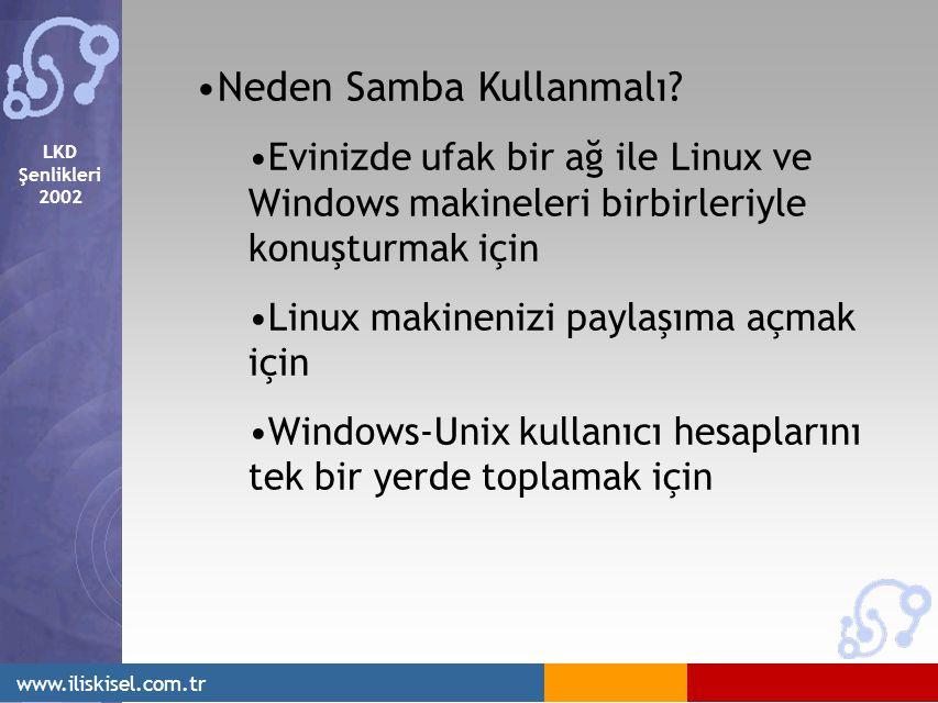 LKD Şenlikleri 2002 www.iliskisel.com.tr Neden Samba Kullanmalı? Evinizde ufak bir ağ ile Linux ve Windows makineleri birbirleriyle konuşturmak için L