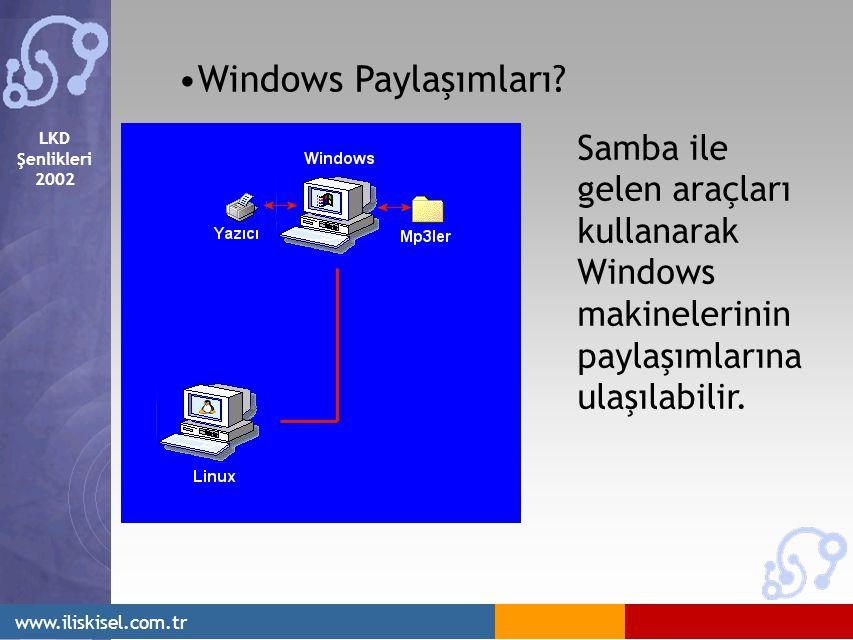 LKD Şenlikleri 2002 www.iliskisel.com.tr Windows Paylaşımları? Samba ile gelen araçları kullanarak Windows makinelerinin paylaşımlarına ulaşılabilir.