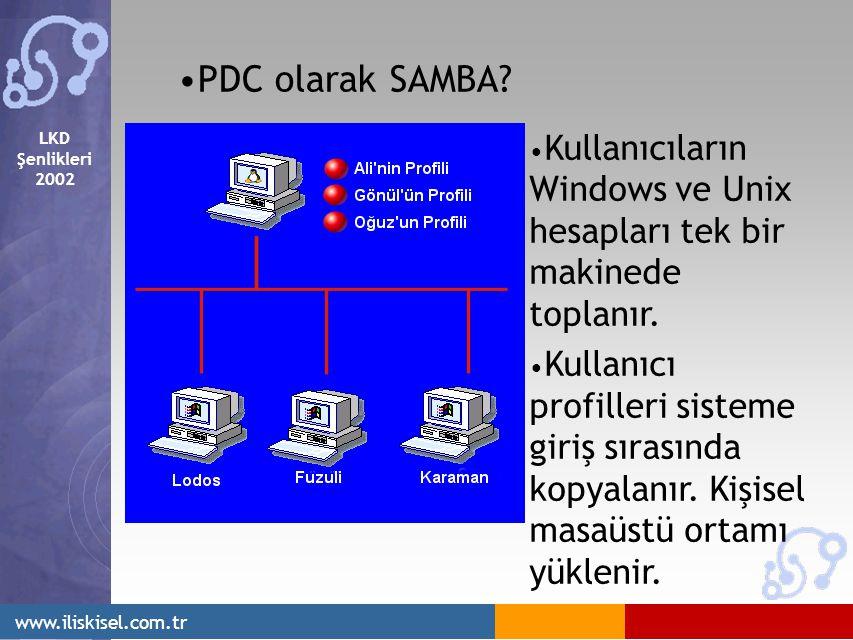 LKD Şenlikleri 2002 www.iliskisel.com.tr PDC olarak SAMBA? Kullanıcıların Windows ve Unix hesapları tek bir makinede toplanır. Kullanıcı profilleri si