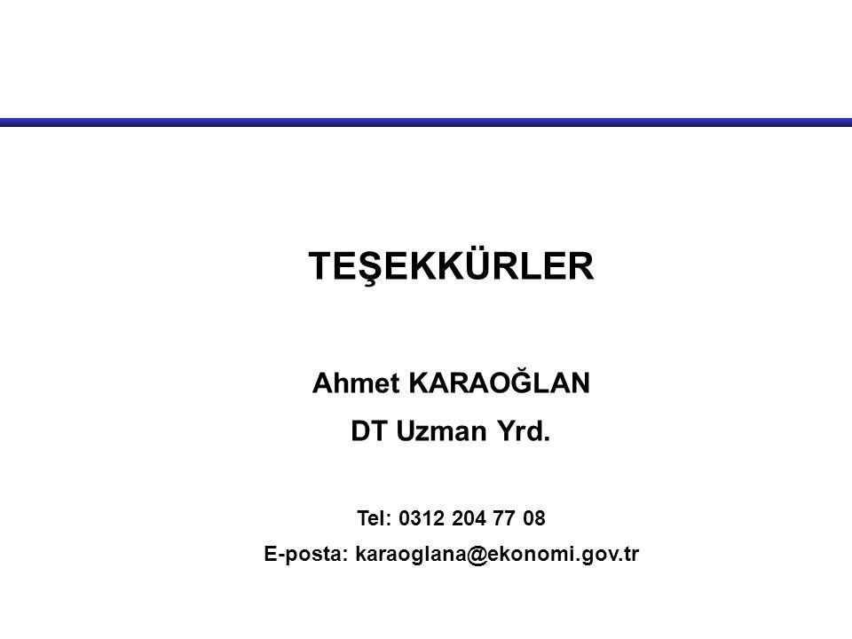 TEŞEKKÜRLER Ahmet KARAOĞLAN DT Uzman Yrd. Tel: 0312 204 77 08 E-posta: karaoglana@ekonomi.gov.tr