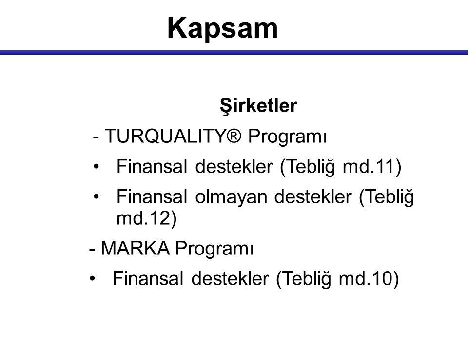Kapsam Şirketler - TURQUALITY® Programı Finansal destekler (Tebliğ md.11) Finansal olmayan destekler (Tebliğ md.12) - MARKA Programı Finansal destekle