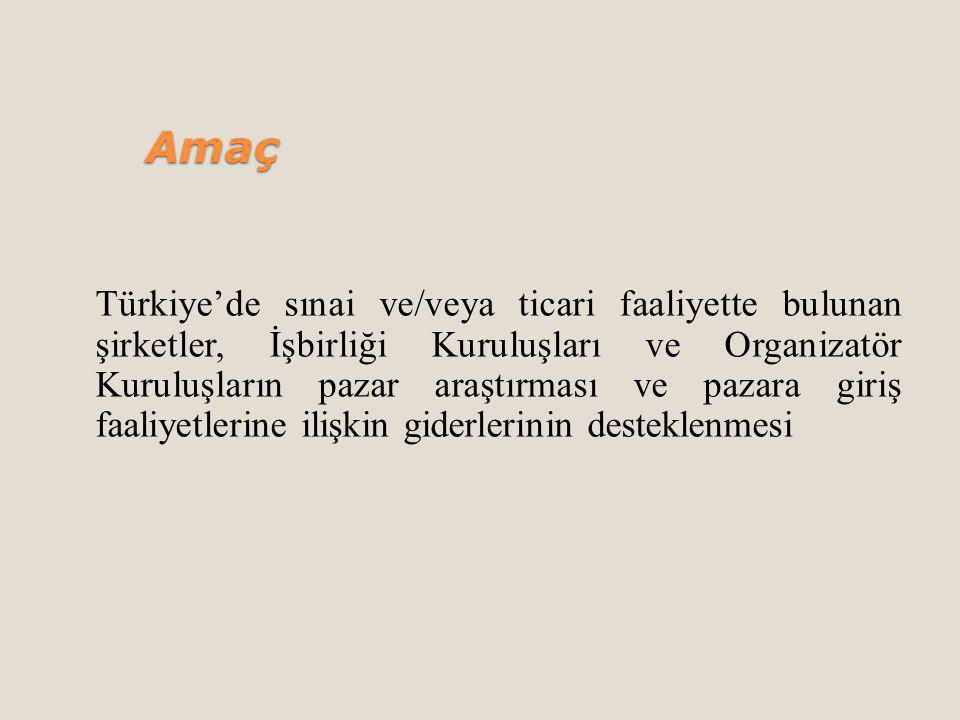 Amaç Türkiye'de sınai ve/veya ticari faaliyette bulunan şirketler, İşbirliği Kuruluşları ve Organizatör Kuruluşların pazar araştırması ve pazara giriş faaliyetlerine ilişkin giderlerinin desteklenmesi