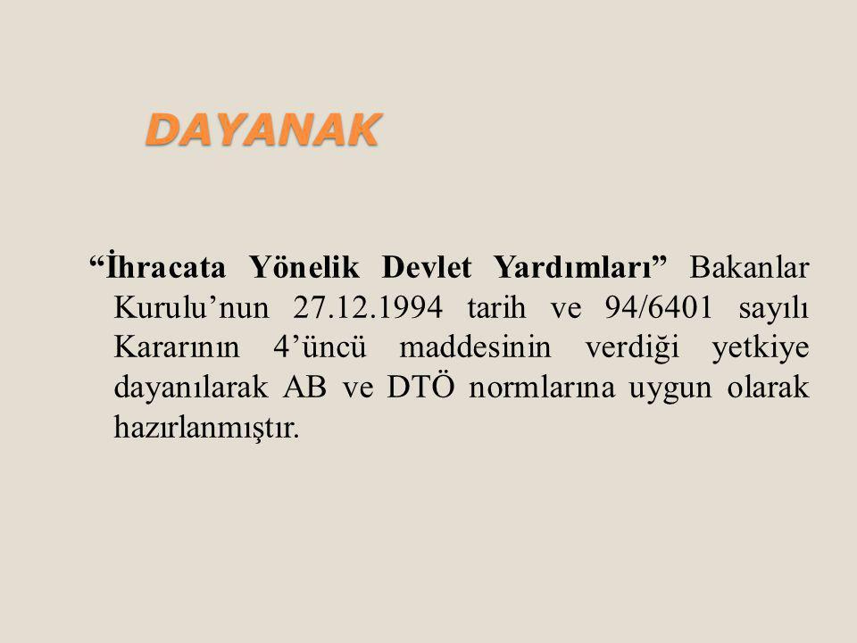 İhracata Yönelik Devlet Yardımları Bakanlar Kurulu'nun 27.12.1994 tarih ve 94/6401 sayılı Kararının 4'üncü maddesinin verdiği yetkiye dayanılarak AB ve DTÖ normlarına uygun olarak hazırlanmıştır.