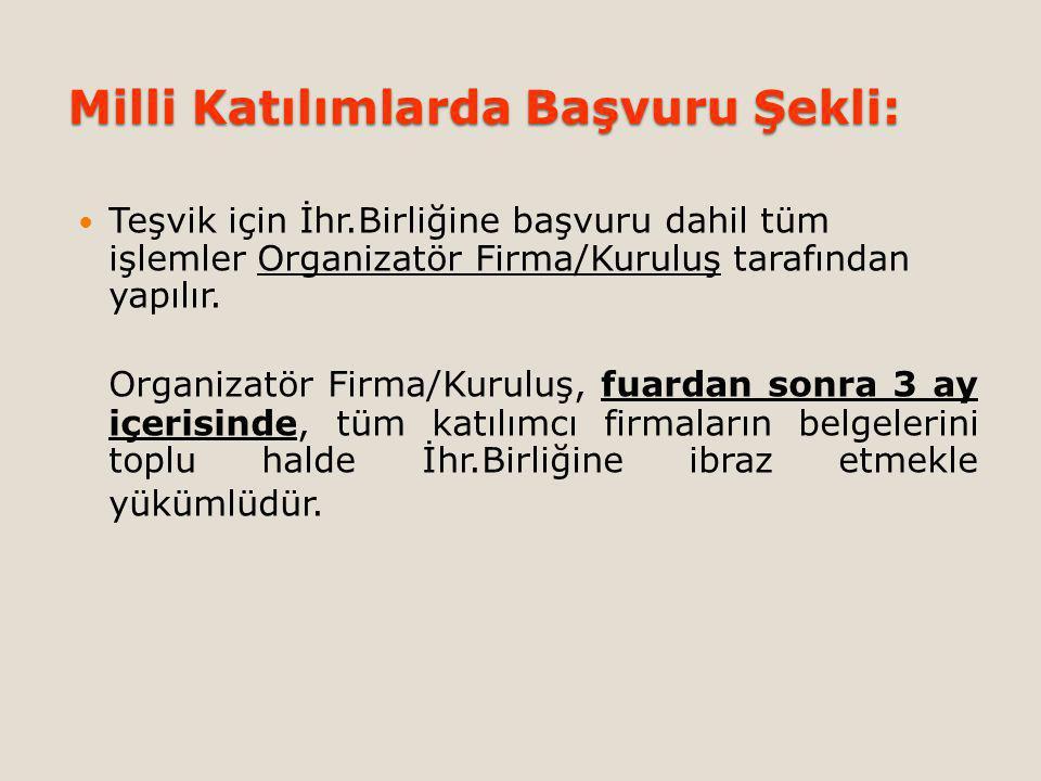Milli Katılımlarda Başvuru Şekli: Teşvik için İhr.Birliğine başvuru dahil tüm işlemler Organizatör Firma/Kuruluş tarafından yapılır.