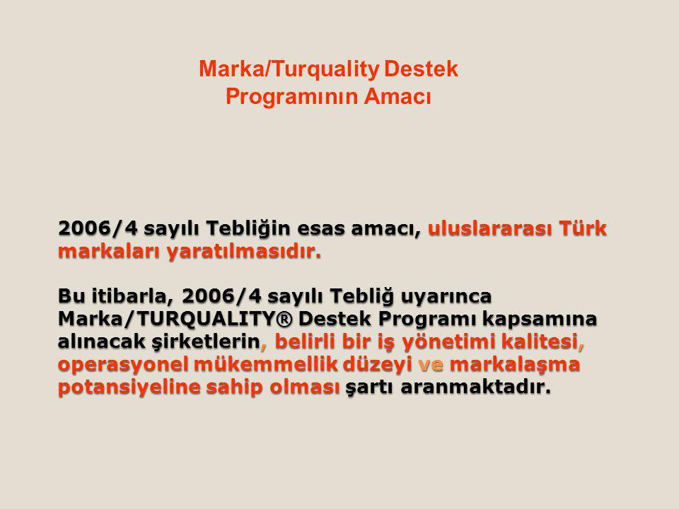 2006/4 sayılı Tebliğin esas amacı, uluslararası Türk markaları yaratılmasıdır.