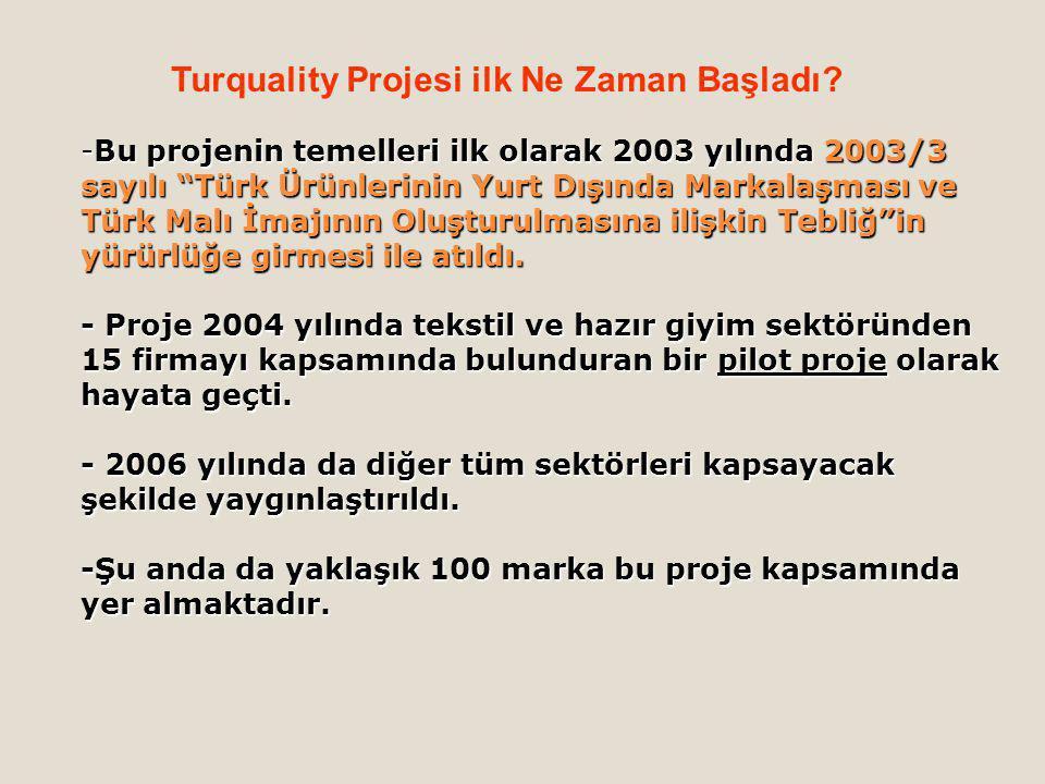 -Bu projenin temelleri ilk olarak 2003 yılında 2003/3 sayılı Türk Ürünlerinin Yurt Dışında Markalaşması ve Türk Malı İmajının Oluşturulmasına ilişkin Tebliğ in yürürlüğe girmesi ile atıldı.