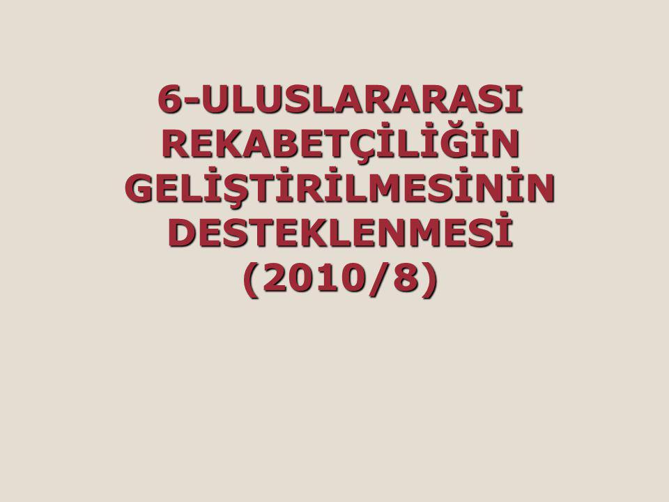 6-ULUSLARARASI REKABETÇİLİĞİN GELİŞTİRİLMESİNİN DESTEKLENMESİ (2010/8)