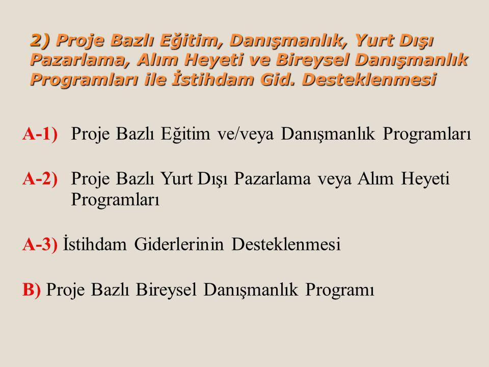 2) Proje Bazlı Eğitim, Danışmanlık, Yurt Dışı Pazarlama, Alım Heyeti ve Bireysel Danışmanlık Programları ile İstihdam Gid.