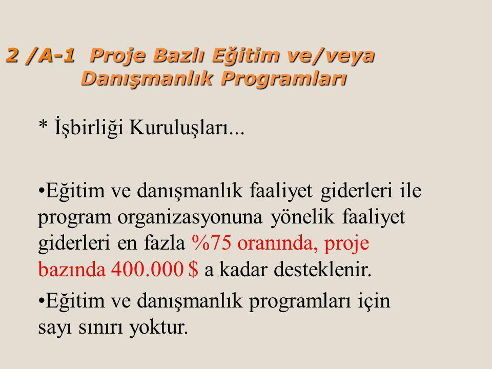 2 /A-1 Proje Bazlı Eğitim ve/veya Danışmanlık Programları * İşbirliği Kuruluşları...