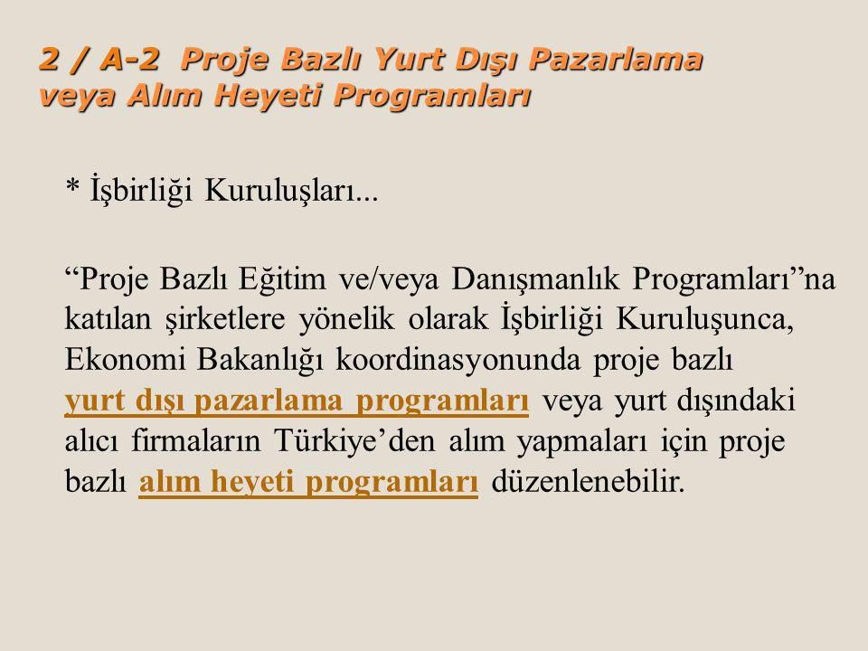 2 / A-2 Proje Bazlı Yurt Dışı Pazarlama veya Alım Heyeti Programları * İşbirliği Kuruluşları...