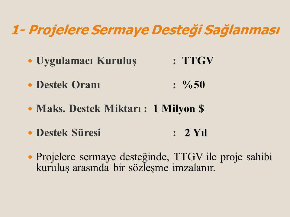 Uygulamacı Kuruluş: TTGV Destek Oranı: %50 Maks.