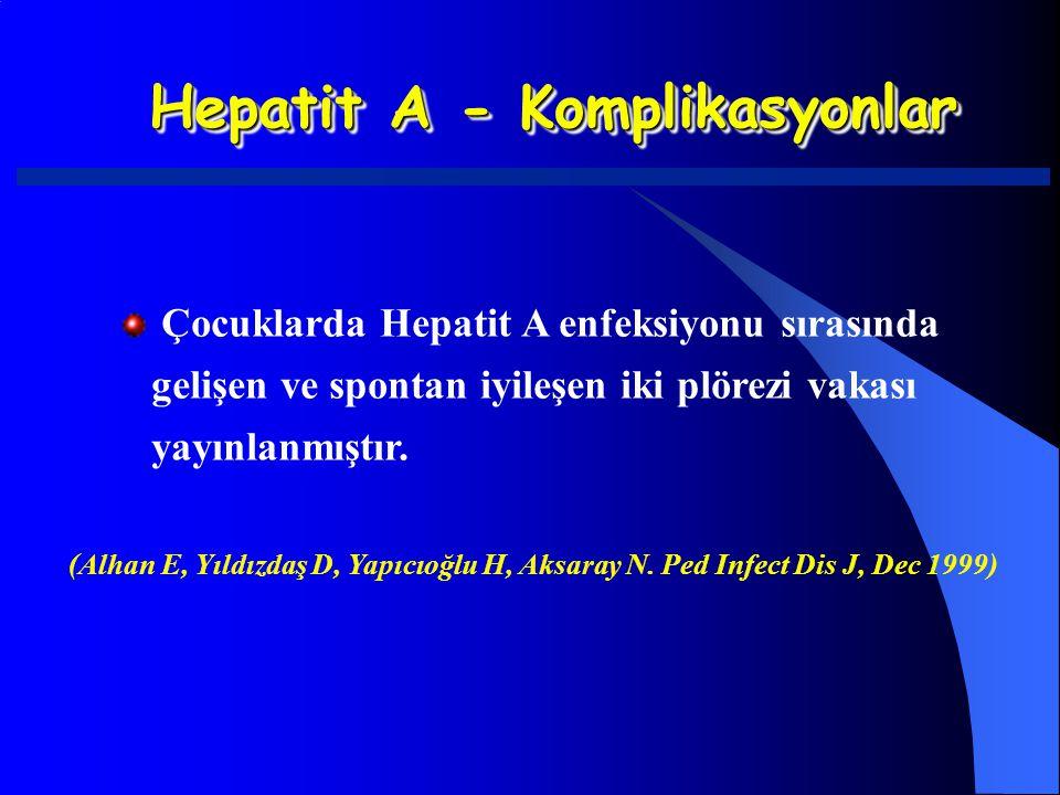 Hepatit A - Komplikasyonlar Çocuklarda Hepatit A enfeksiyonu sırasında gelişen ve spontan iyileşen iki plörezi vakası yayınlanmıştır. (Alhan E, Yıldız