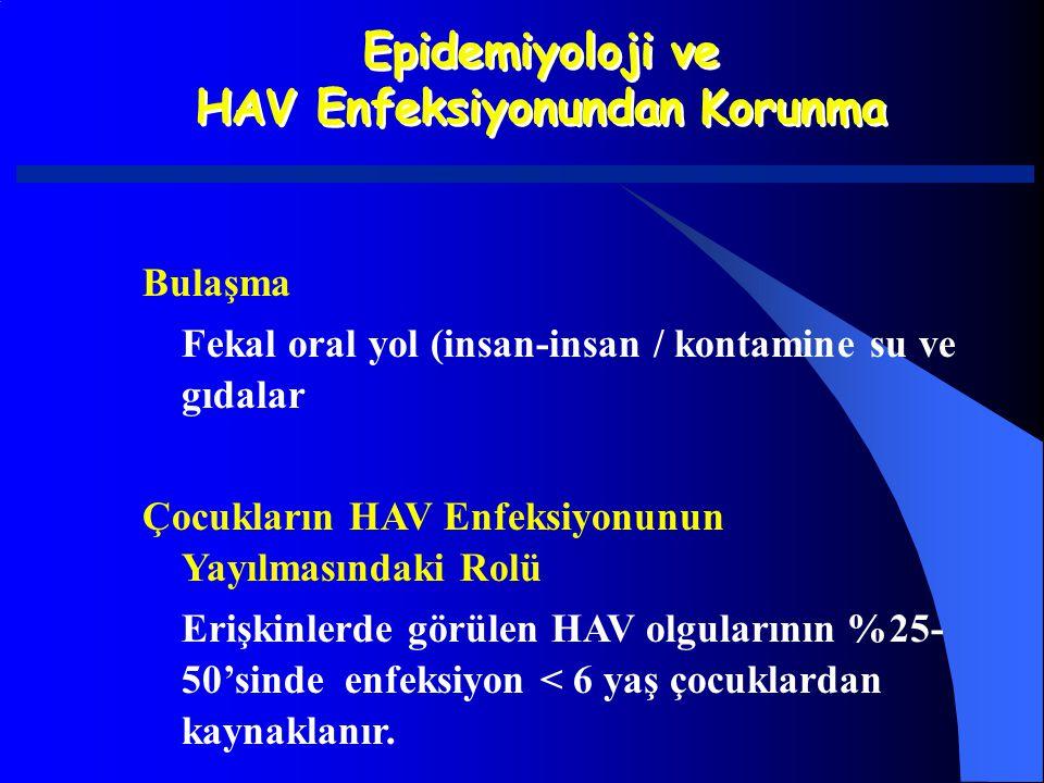 Epidemiyoloji ve HAV Enfeksiyonundan Korunma Epidemiyoloji ve HAV Enfeksiyonundan Korunma Bulaşma Fekal oral yol (insan-insan / kontamine su ve gıdala