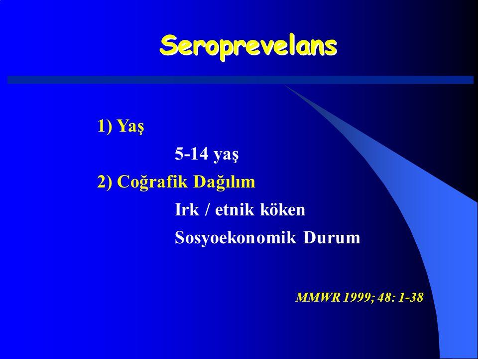 Seroprevelans 1) Yaş 5-14 yaş 2) Coğrafik Dağılım Irk / etnik köken Sosyoekonomik Durum MMWR 1999; 48: 1-38