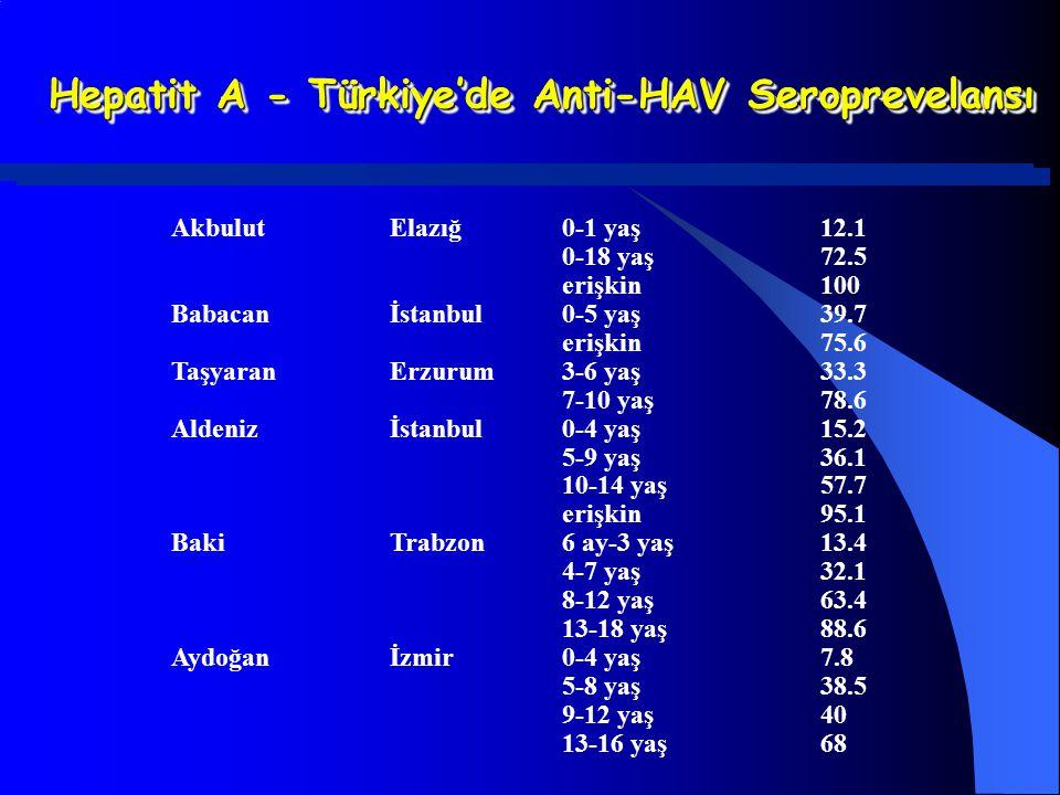 Hepatit A - Türkiye'de Anti-HAV Seroprevelansı AkbulutElazığ0-1 yaş12.1 0-18 yaş72.5 erişkin100 Babacanİstanbul0-5 yaş39.7 erişkin75.6 TaşyaranErzurum