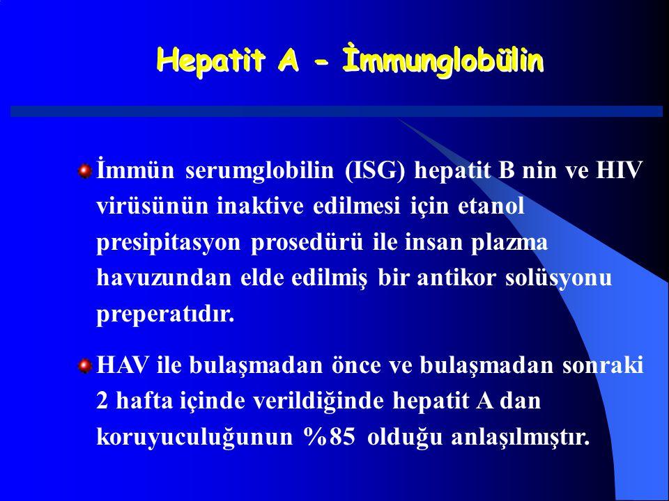 Hepatit A - İmmunglobülin İmmün serumglobilin (ISG) hepatit B nin ve HIV virüsünün inaktive edilmesi için etanol presipitasyon prosedürü ile insan pla