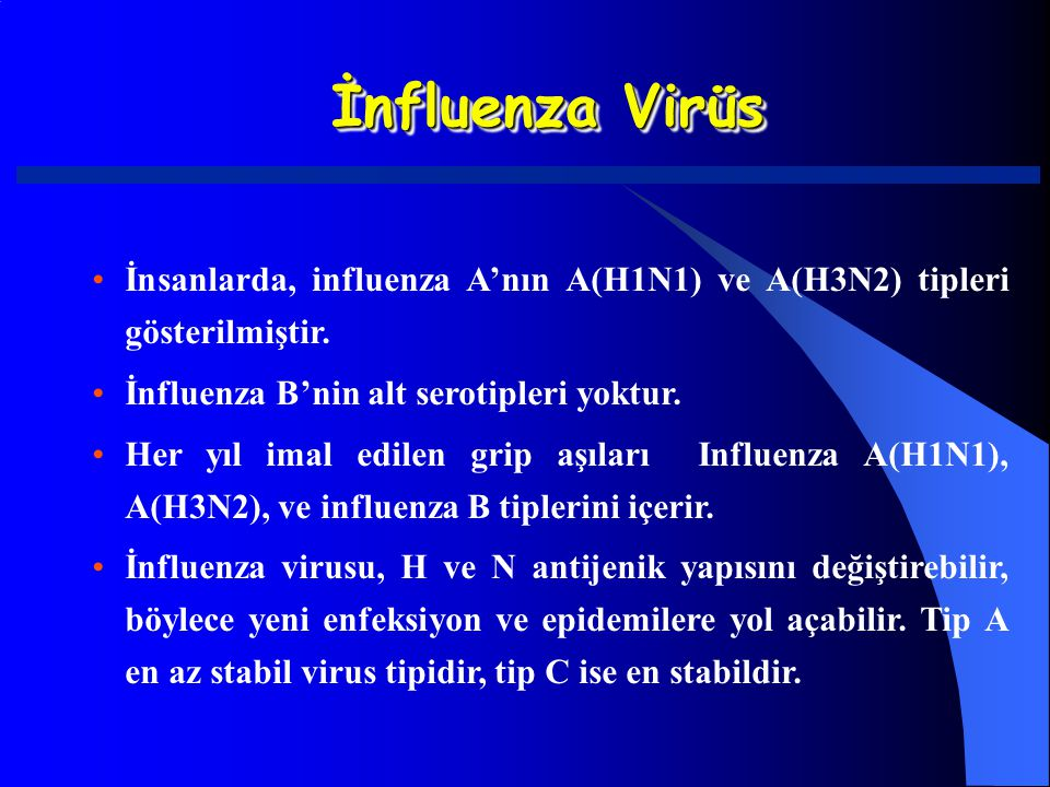 İnfluenza Virüs İnsanlarda, influenza A'nın A(H1N1) ve A(H3N2) tipleri gösterilmiştir. İnfluenza B'nin alt serotipleri yoktur. Her yıl imal edilen gri