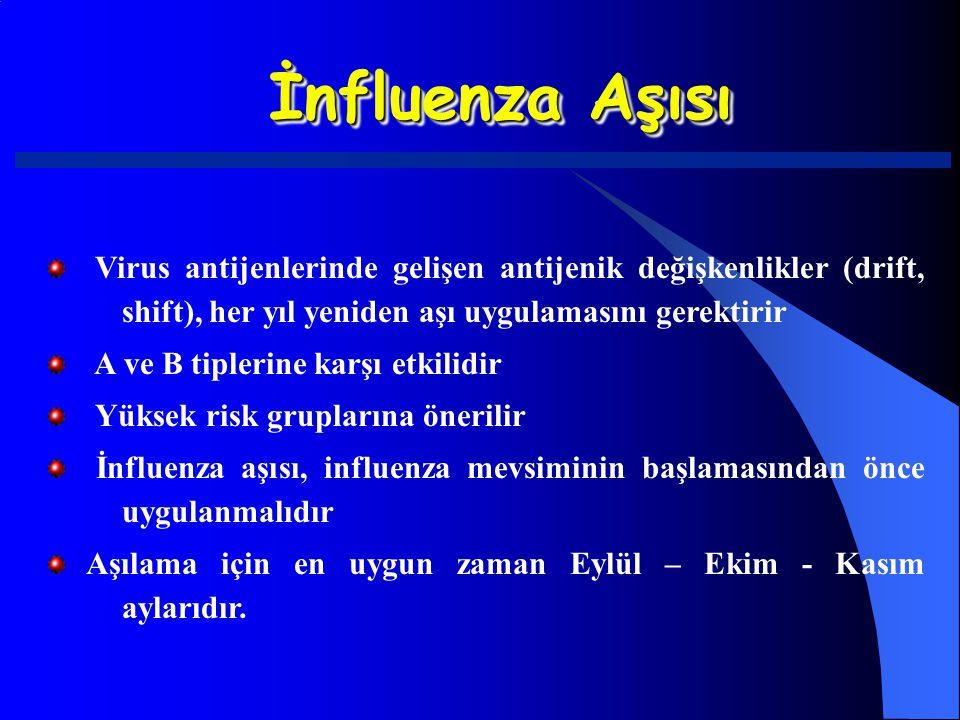 İnfluenza Aşısı Virus antijenlerinde gelişen antijenik değişkenlikler (drift, shift), her yıl yeniden aşı uygulamasını gerektirir A ve B tiplerine kar