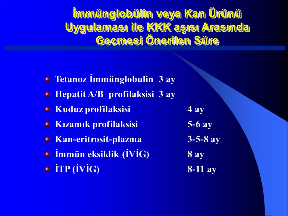 İmmünglobülin veya Kan Ürünü Uygulaması ile KKK aşısı Arasında Geçmesi Önerilen Süre Tetanoz İmmünglobulin3 ay Hepatit A/B profilaksisi3 ay Kuduz prof
