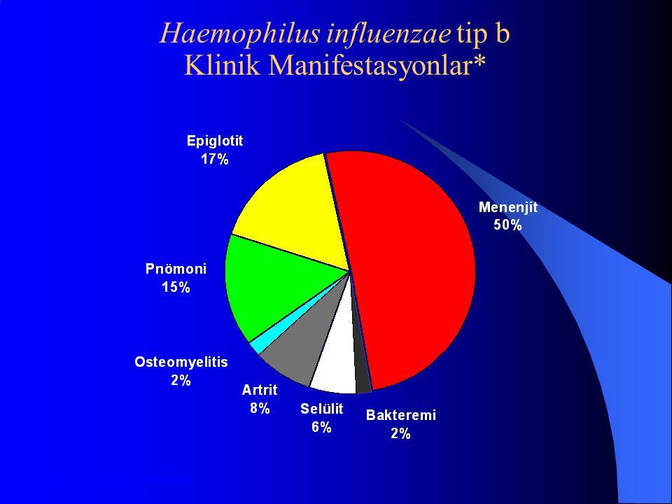 Haemophilus influenzae tip b Klinik Manifestasyonlar* *Aşı Öncesi Dönem