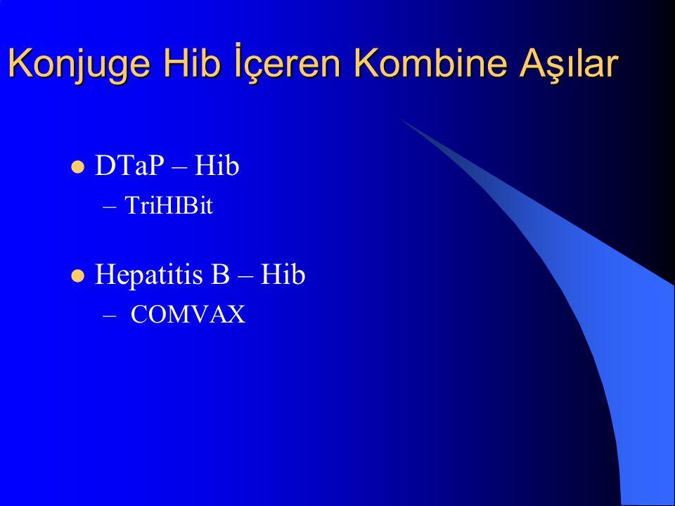 Konjuge Hib İçeren Kombine Aşılar DTaP – Hib –TriHIBit Hepatitis B – Hib – COMVAX