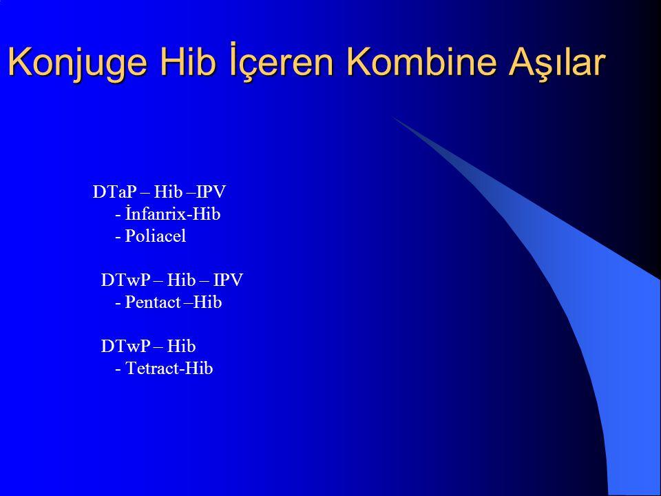Konjuge Hib İçeren Kombine Aşılar DTaP – Hib –IPV - İnfanrix-Hib - Poliacel DTwP – Hib – IPV - Pentact –Hib DTwP – Hib - Tetract-Hib