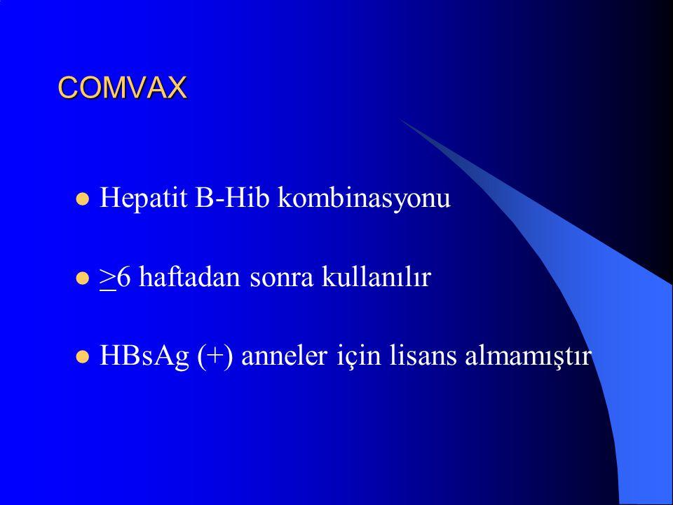 COMVAX Hepatit B-Hib kombinasyonu >6 haftadan sonra kullanılır HBsAg (+) anneler için lisans almamıştır