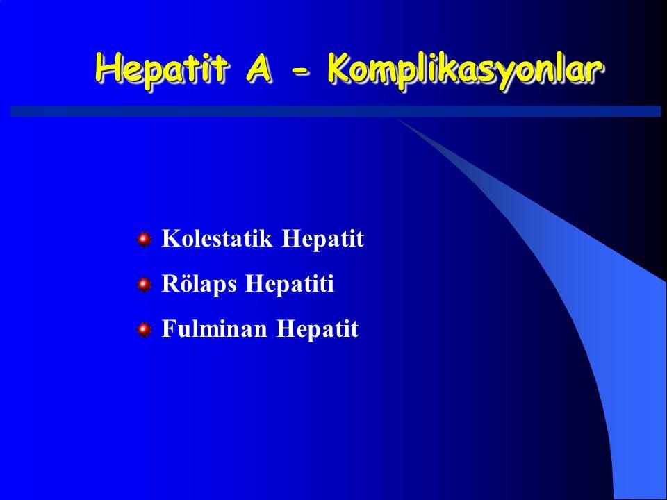 Hepatit A - Komplikasyonlar Kolestatik Hepatit Rölaps Hepatiti Fulminan Hepatit