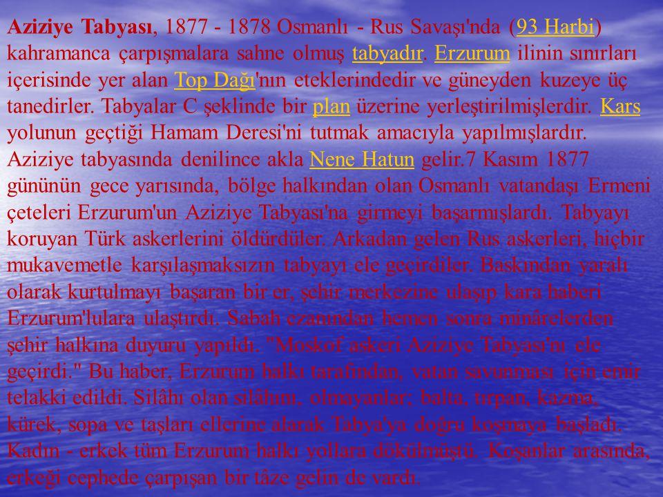 Aziziye Tabyası, 1877 - 1878 Osmanlı - Rus Savaşı'nda (93 Harbi) kahramanca çarpışmalara sahne olmuş tabyadır. Erzurum ilinin sınırları içerisinde yer