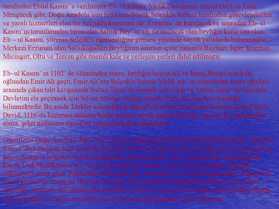 1071 Malazgirt zaferinden sonra, Erzurum ve çevresi büyük Selçuklu Sultanı Alparslan tarafından Eblul Kasım' a verilmiştir. Eb–ul Kasım, Melik Danişme
