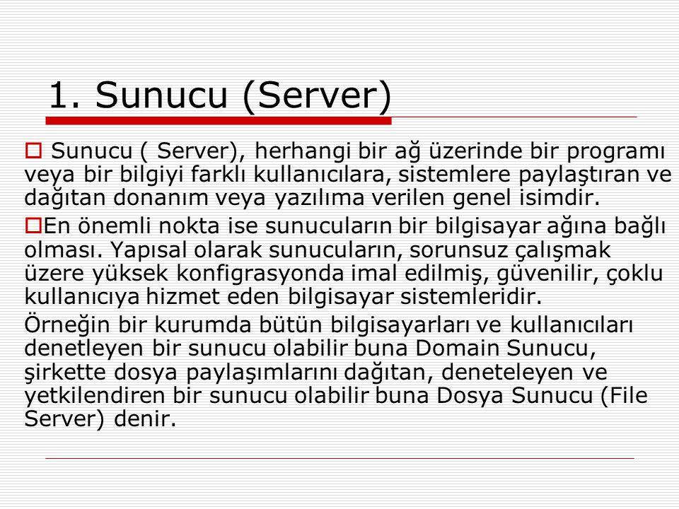 1. Sunucu (Server)  Sunucu ( Server), herhangi bir ağ üzerinde bir programı veya bir bilgiyi farklı kullanıcılara, sistemlere paylaştıran ve dağıtan