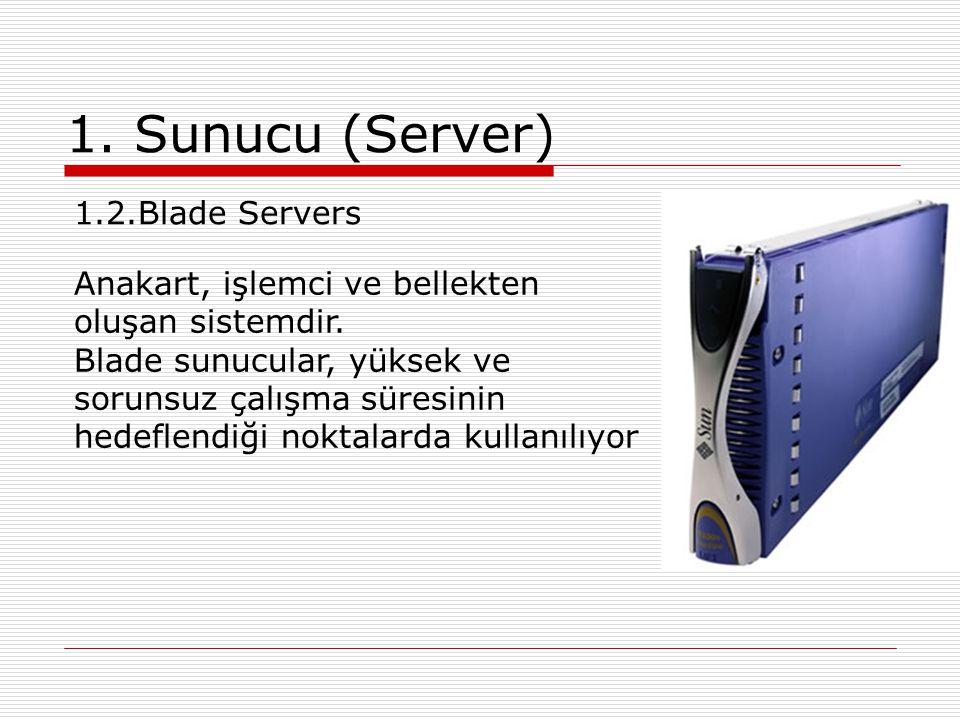 1. Sunucu (Server) 1.2.Blade Servers Anakart, işlemci ve bellekten oluşan sistemdir. Blade sunucular, yüksek ve sorunsuz çalışma süresinin hedeflendiğ