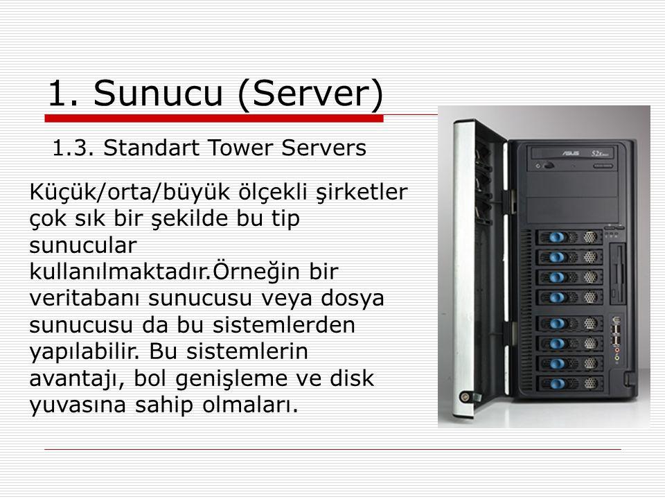1. Sunucu (Server) Küçük/orta/büyük ölçekli şirketler çok sık bir şekilde bu tip sunucular kullanılmaktadır.Örneğin bir veritabanı sunucusu veya dosya