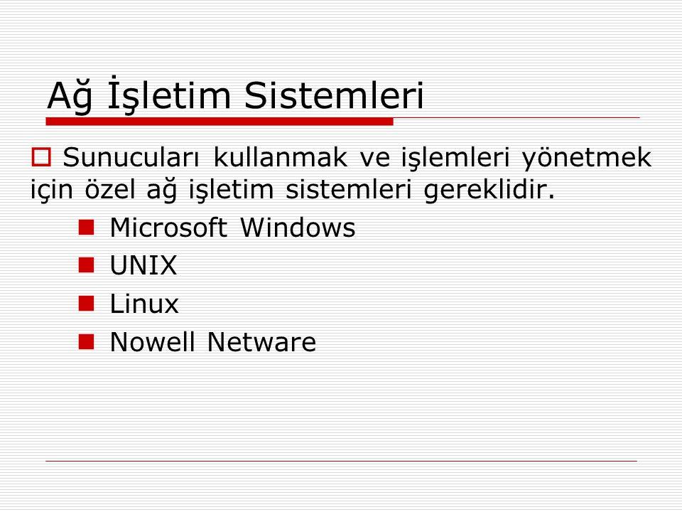 Ağ İşletim Sistemleri  Sunucuları kullanmak ve işlemleri yönetmek için özel ağ işletim sistemleri gereklidir. Microsoft Windows UNIX Linux Nowell Net