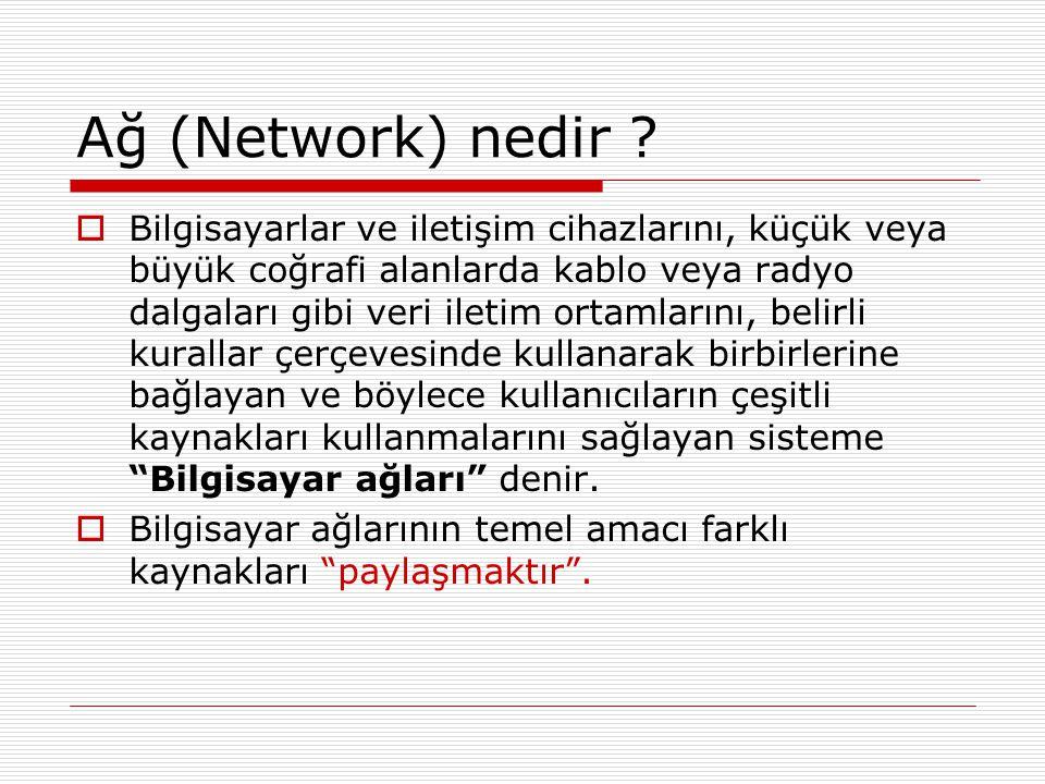Ağ (Network) nedir ?  Bilgisayarlar ve iletişim cihazlarını, küçük veya büyük coğrafi alanlarda kablo veya radyo dalgaları gibi veri iletim ortamları