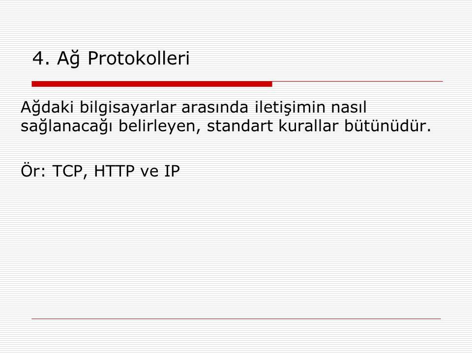 4. Ağ Protokolleri Ağdaki bilgisayarlar arasında iletişimin nasıl sağlanacağı belirleyen, standart kurallar bütünüdür. Ör: TCP, HTTP ve IP