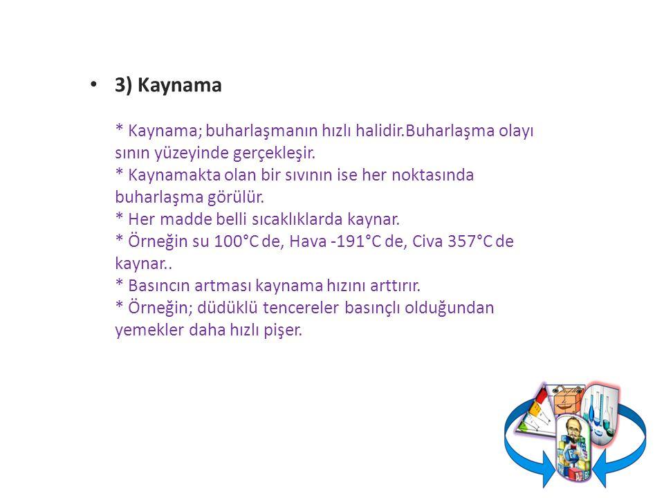 3) Kaynama * Kaynama; buharlaşmanın hızlı halidir.Buharlaşma olayı sının yüzeyinde gerçekleşir.