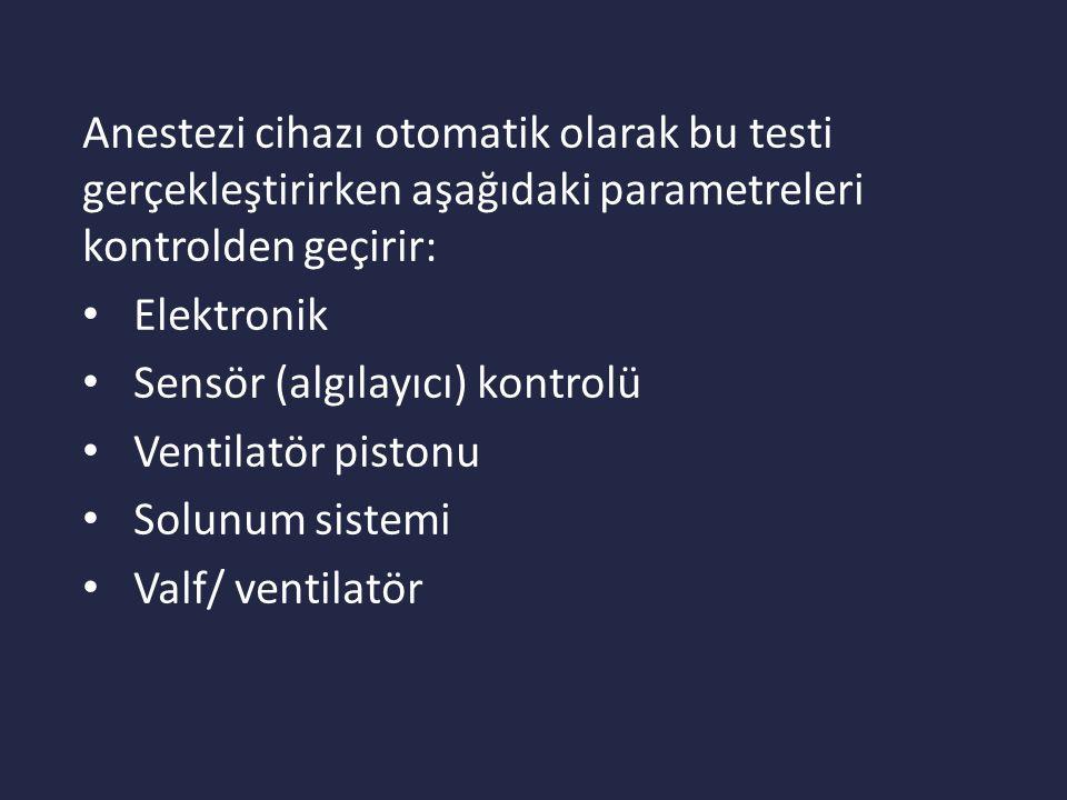 Anestezi cihazı otomatik olarak bu testi gerçekleştirirken aşağıdaki parametreleri kontrolden geçirir: Elektronik Sensör (algılayıcı) kontrolü Ventilatör pistonu Solunum sistemi Valf/ ventilatör